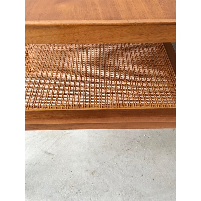 Mid-Century Modern 1960s Vintage Drexel Side Table With Caned Shelf For Sale - Image 3 of 6