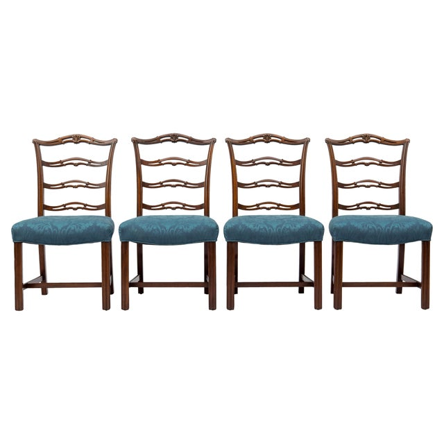 Chippendale Ladder-Back Side Chairs, S/4 For Sale - Image 11 of 11