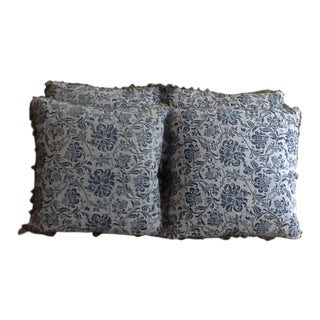 Fortuny Cimarosa Pattern Blue and White Pillows - Set of 4 For Sale