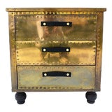 Image of Sarreid Brass 3-Drawer Chest For Sale