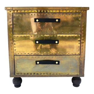 Sarreid Brass 3-Drawer Chest For Sale