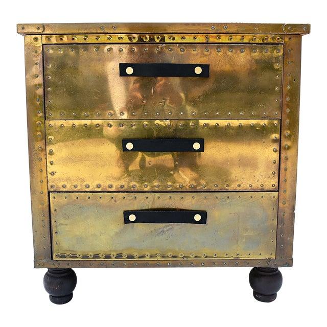 Sarreid Brass 3-Drawer Chest For Sale