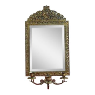 Antique Bronze Cast Hanging Wall Sconce Mirror For Sale
