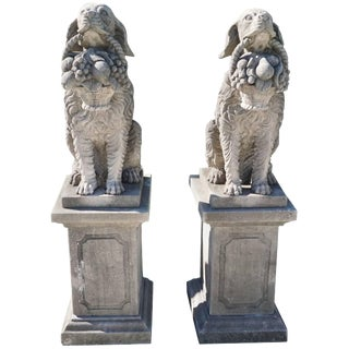 Early 20th Century Hunting Dogs in Limestone - a Pair For Sale