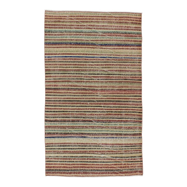 Vintage Turkish Hand-Knotted Striped Area Rug - 3′10″ × 6′7″ - Image 1 of 6