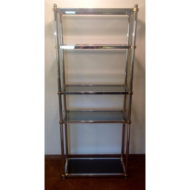 Maison Jansen 5 Tier Etagere Hollywood Regency Style Chrome & Brass with Smoked Glass Shelving / Bottom Shelf Tinted the...