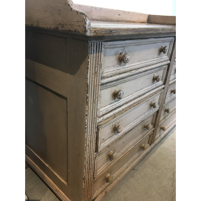 10 Drawer English Antiqued Buffet For Sale - Image 4 of 8