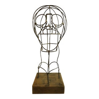 Vintage Mid-Century Wire Form Bust Sculpture For Sale