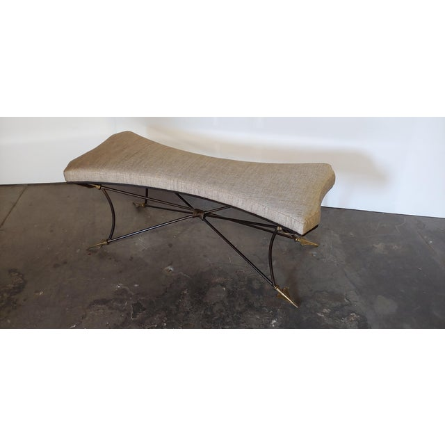 Italian Newly Upholstered Bench With Neoclassical Style Base For Sale - Image 3 of 8
