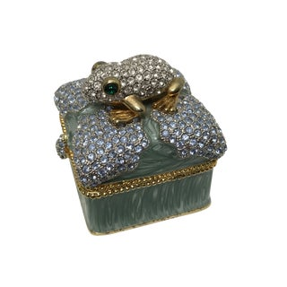 Jeweled Hinged Ring Box With Frog For Sale