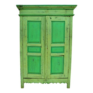 Late 19th Century Rustic Green Hutch or Armoire For Sale