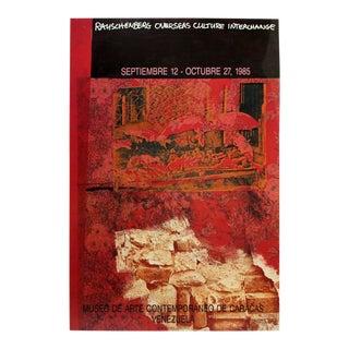 Contemporary Modern Unframed Rauschenberg 1985 Overseas Poster Venezuela Red For Sale