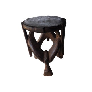 Carved Wooden Makonde Three-Legged Stool Tanzania For Sale