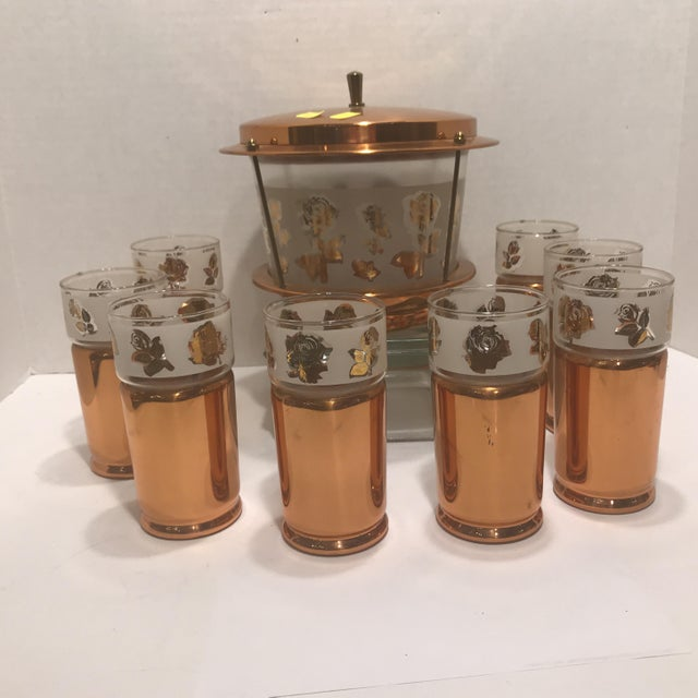 1950s Mid Century Modern Copper Detailed Ice Tea Set - 9 Pieces For Sale - Image 13 of 13