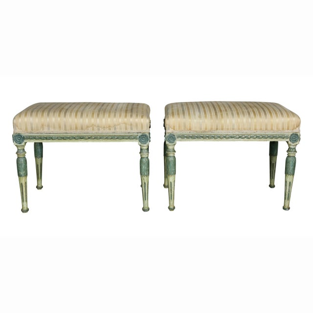 Gustavian (Swedish) Swedish Neoclassic Painted Benches - a Pair For Sale - Image 3 of 11