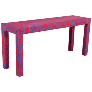 1980s Post-Modern Hollywood Regency Jacobean Coral Upholstered Sofa Table