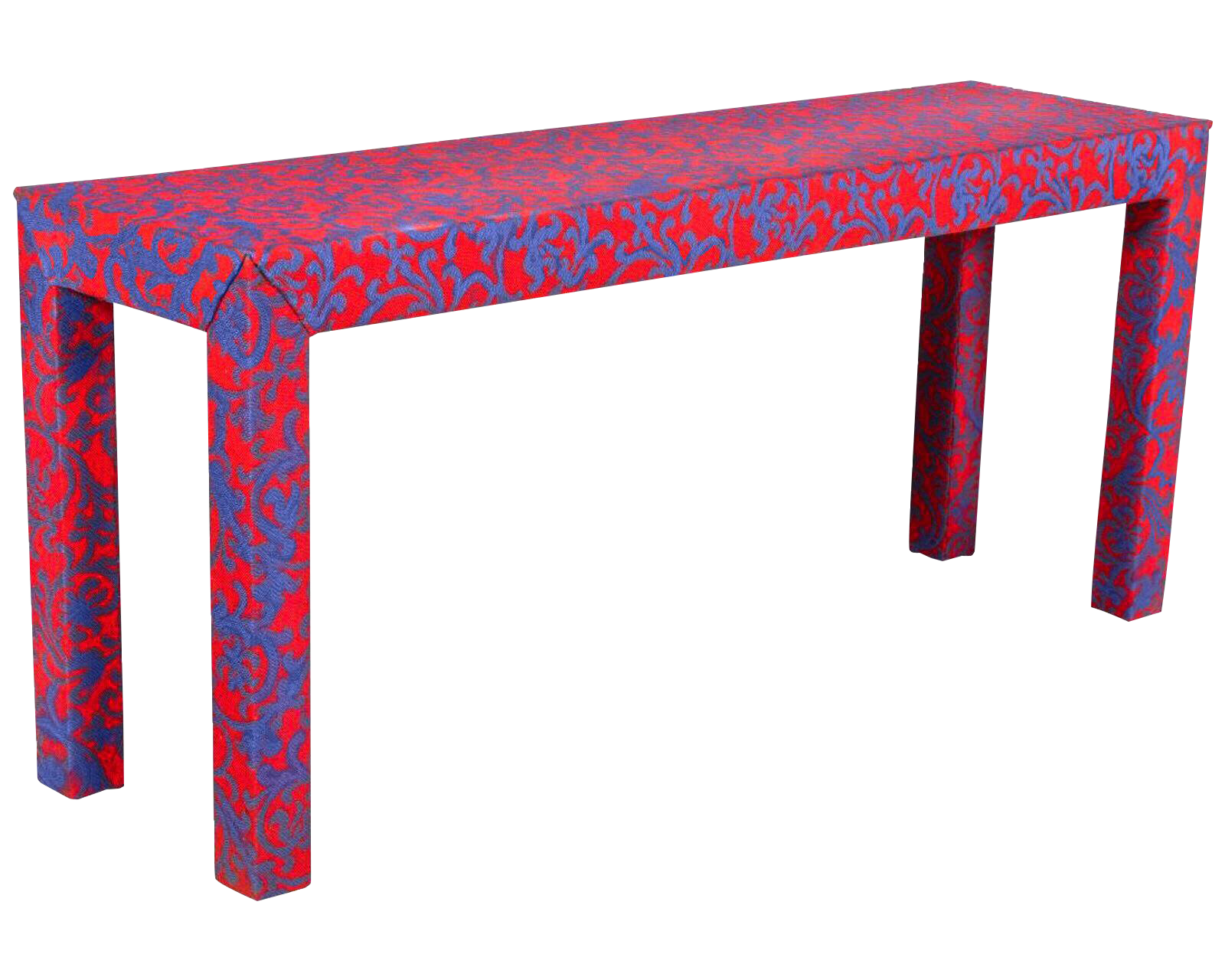Last Call 1980s Post Modern Hollywood Regency Jacobean Coral Upholstered Sofa  Table