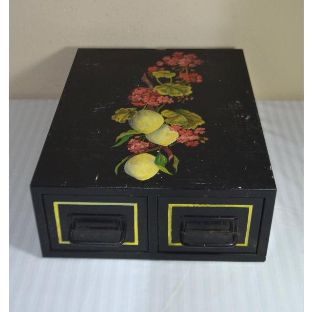 Vintage Hand Painted Floral Filing Cabinet For Sale - Image 9 of 9