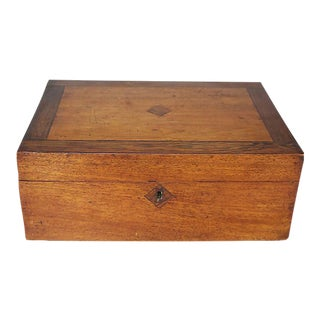 Antique English Wood Jewelry Box For Sale