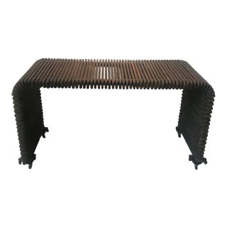 1970s Slatted Waterfall Wood Console For Sale