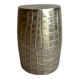 Modern Geometric Silver Finished Side Table For Sale