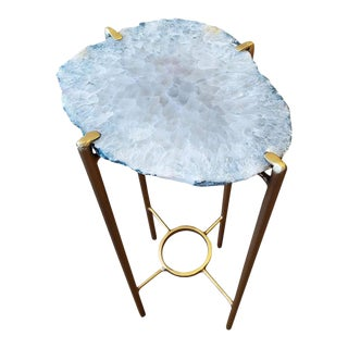 Organic Modern White With Green Edge Geode Drink Table With Gold Gilt Base For Sale