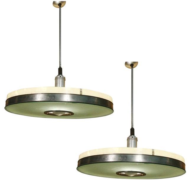 Original May Company Wilshire Streamline Art Deco Pendant Ceiling Lamp, Pair For Sale