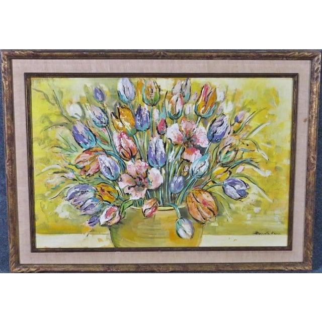 1960's Harriette Harra Modernist Still Life Oil Painting - Tulips For Sale - Image 4 of 4