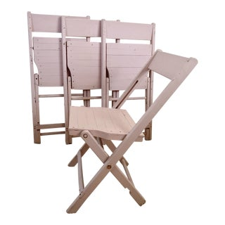1920s Vintage Light Pink Wood Bistro Folding Chairs- Set of 4 For Sale