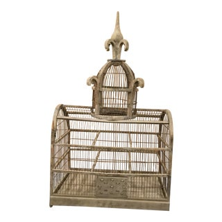 Vintage French Decorative Birdcage in Greige For Sale