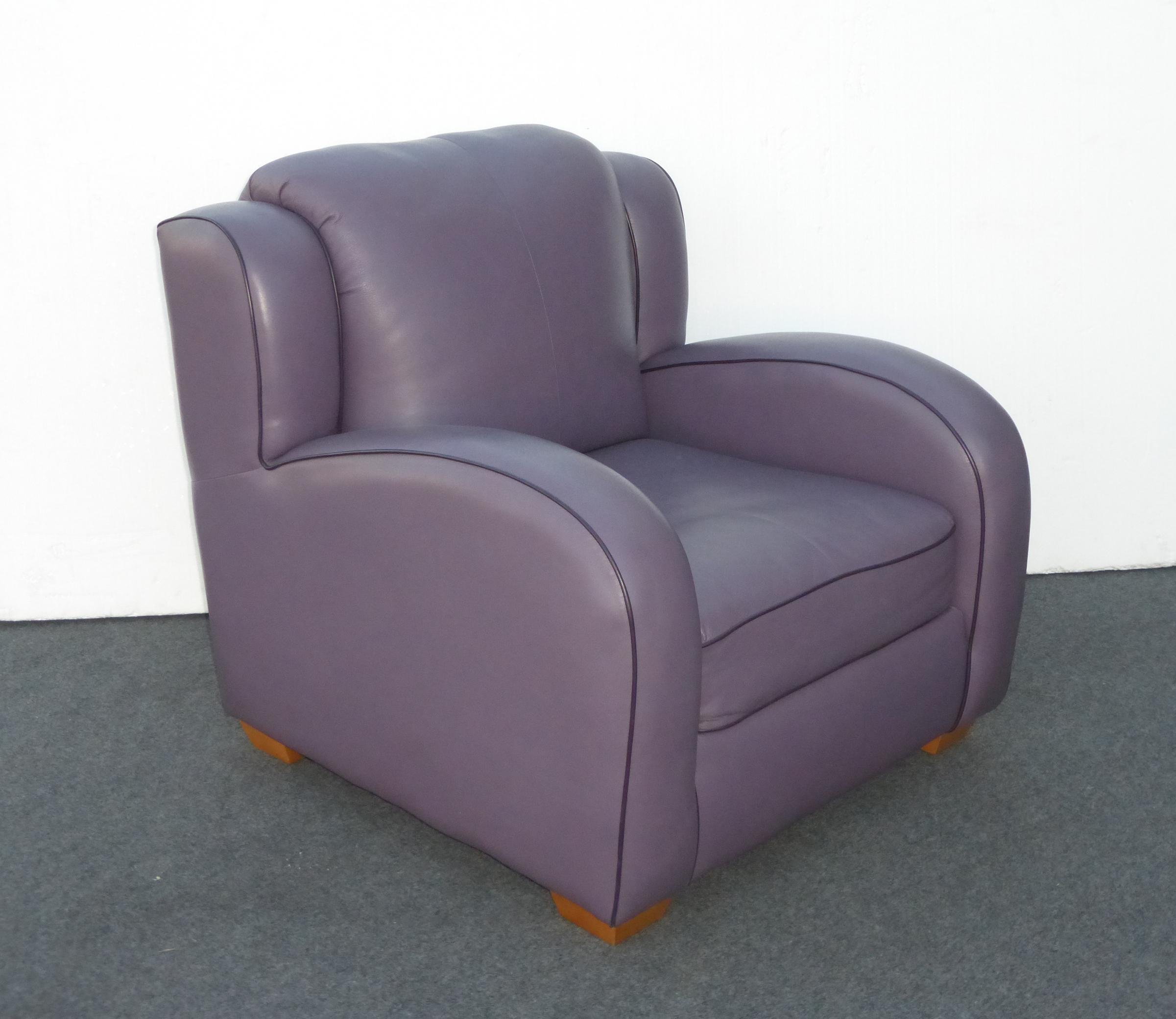 Contemporary Lavender Leather Lounge Arm Chair Chairish