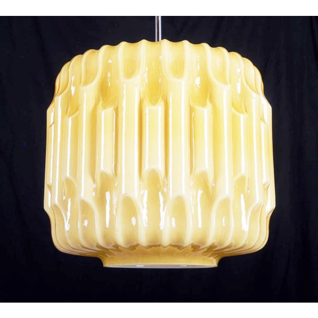 Glass Large Mid-Century Glass Hanging Lamp, 1960s For Sale - Image 7 of 8