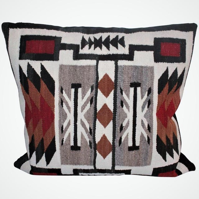 This is such amazing, geometric weaving, saddle blanket pillow. It is as big and bold as it looks in the photo. The...