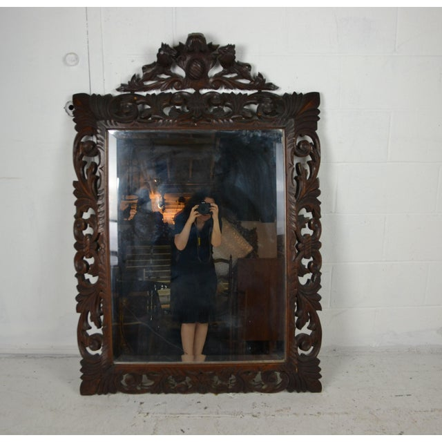 19th Century Carved Oak Wall Mirror For Sale In Los Angeles - Image 6 of 6