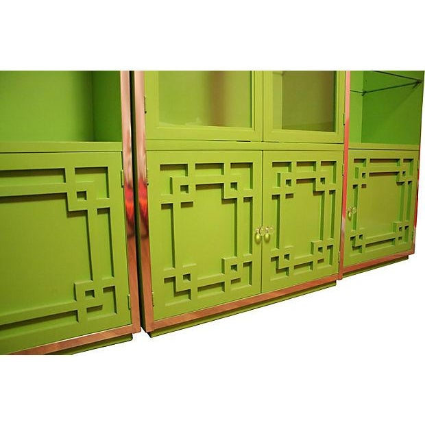Green Thomasville Fretwork Cabinets - Set of 3 - Image 3 of 7