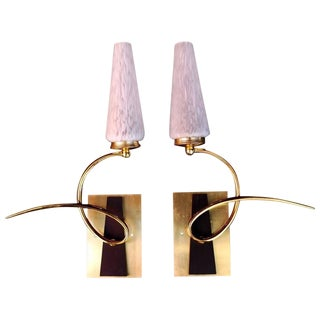 French Mid-Century Sconces by Maison Arlus - a Pair For Sale