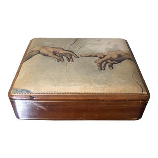 Vintage Italian Leather Trinket Jewelry Box For Sale
