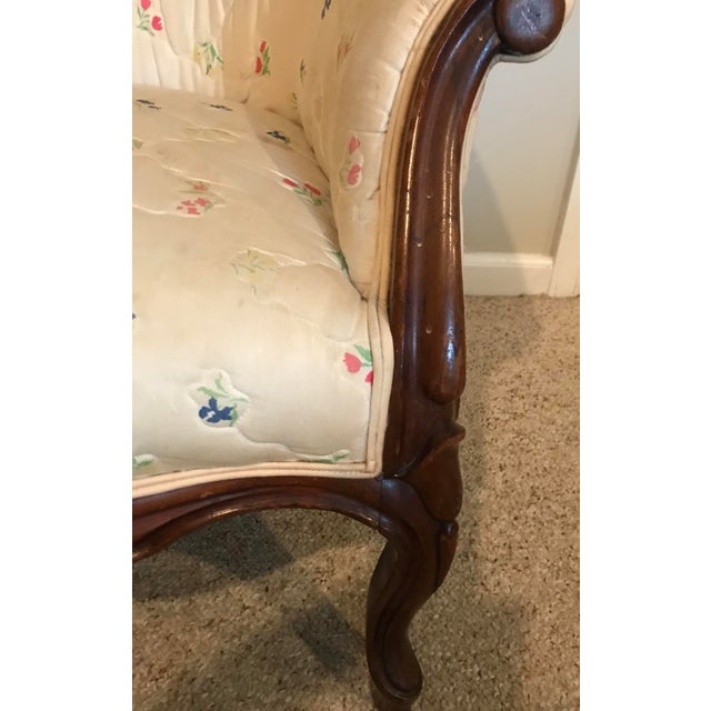 White Victorian Slipper Chair and Ottoman For Sale - Image 8 of 13