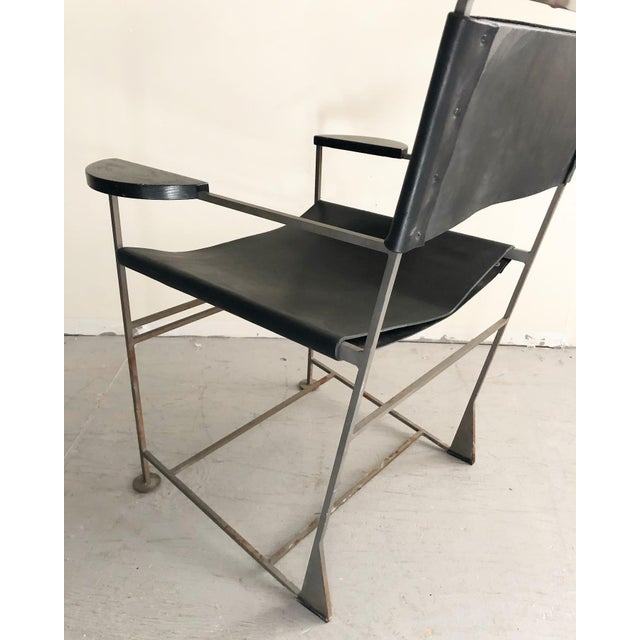 Mid-Century Modern Kevin Walz Post Modern Leather & Iron Lounge Chairs- A Pair For Sale - Image 3 of 8