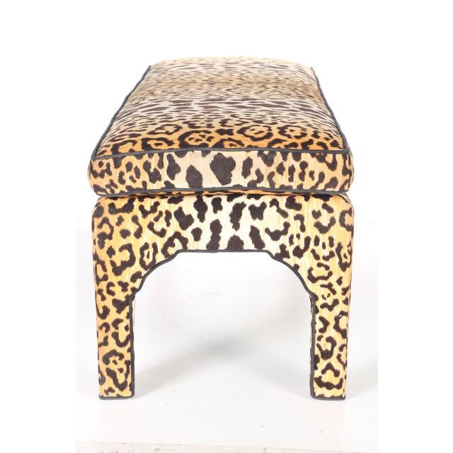 Leopard Print Upholstered Bench - Image 2 of 7