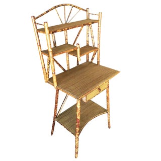 Tiger Bamboo Desk with Asymmetric Rice Mat Shelves