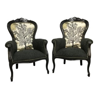 Vintage Framed Armchairs in Thibaut Embroidery and Faux Curly Shearling- a Pair For Sale