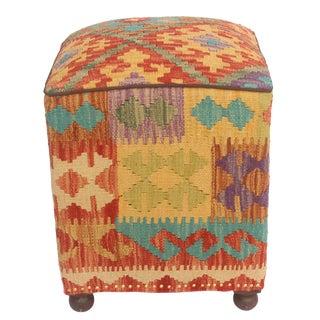 Alesia Rust/Gold Kilim Upholstered Handmade Ottoman