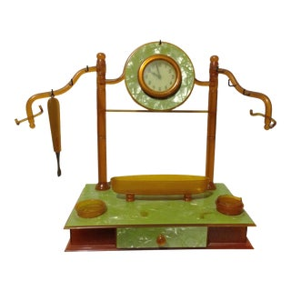 Pearl Celluloid Vanity Dresser Clock For Sale