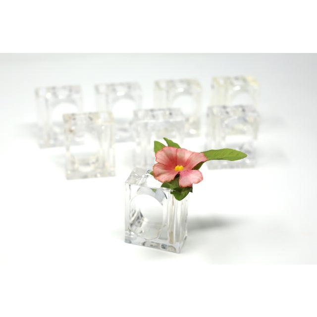 Contemporary Vintage Lillian Vernon Lucite Vase Napkin Rings - Set of 8 For Sale - Image 3 of 13