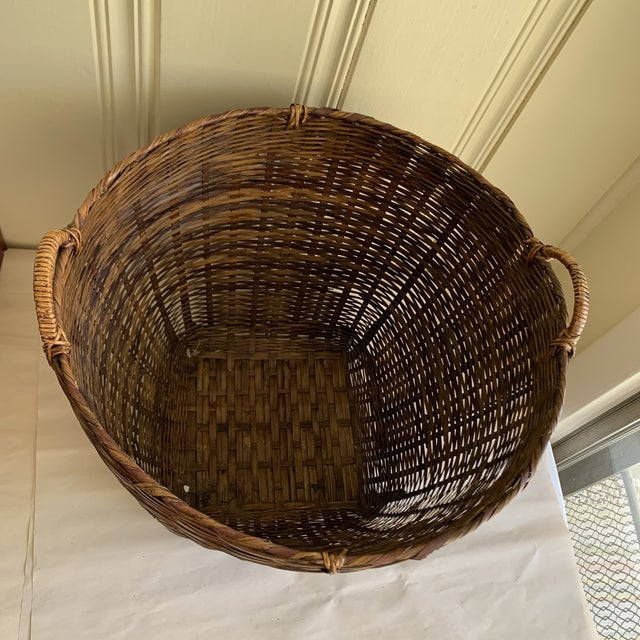 Earthy Wood Rustic Decor & Storage Basket For Sale In Los Angeles - Image 6 of 9