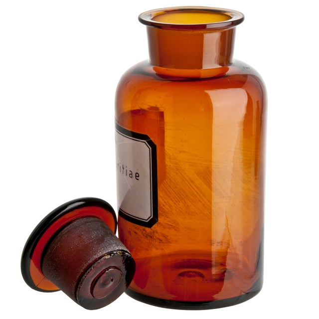 This vintage, German, amber glass apothecary bottle is great for displaying a small wildflower on a shelf or windowsill....