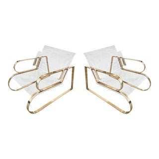 "Brass & Lucite ""Double Waterfall"" Lounge Chairs by Charles Hollis Jones - a Pair For Sale"