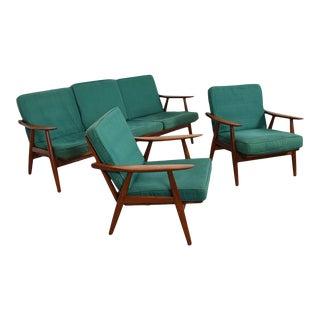 Hans Wegner Ge-270 Danish Teak Sofa & Pr Chairs Set - Set of 3 For Sale