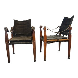 Vintage Authentic Models Bridle Leather Safari Chairs- a Pair For Sale